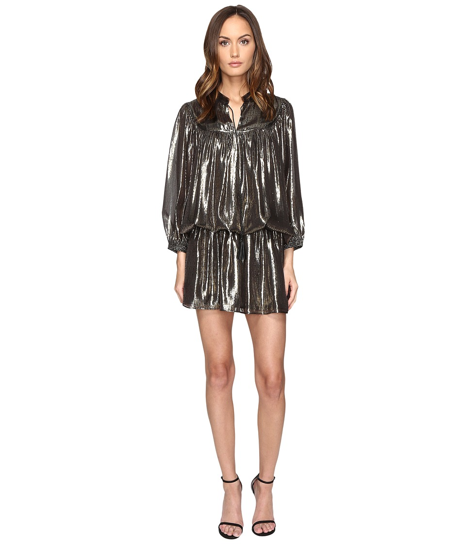 Just Cavalli - Long Sleeve Metallic Cinched Drop Waist Dress (Black) Women's Dress
