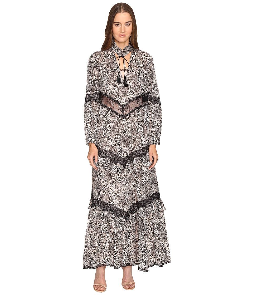 Just Cavalli Long Sleeve Hide and Seek Sheer Inset Maxi Rose Dress
