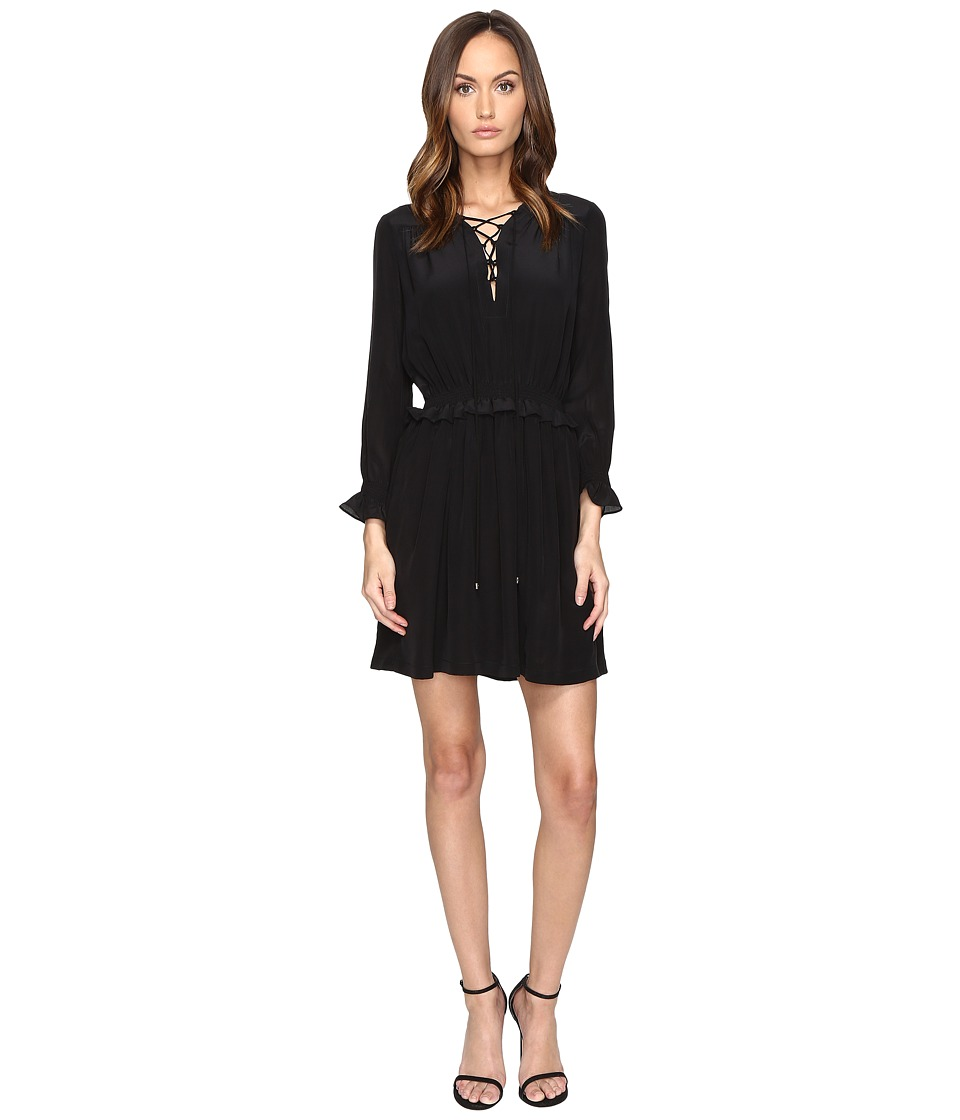 Just Cavalli - Long Sleeve Tie Neck Dress (Black) Women's Dress