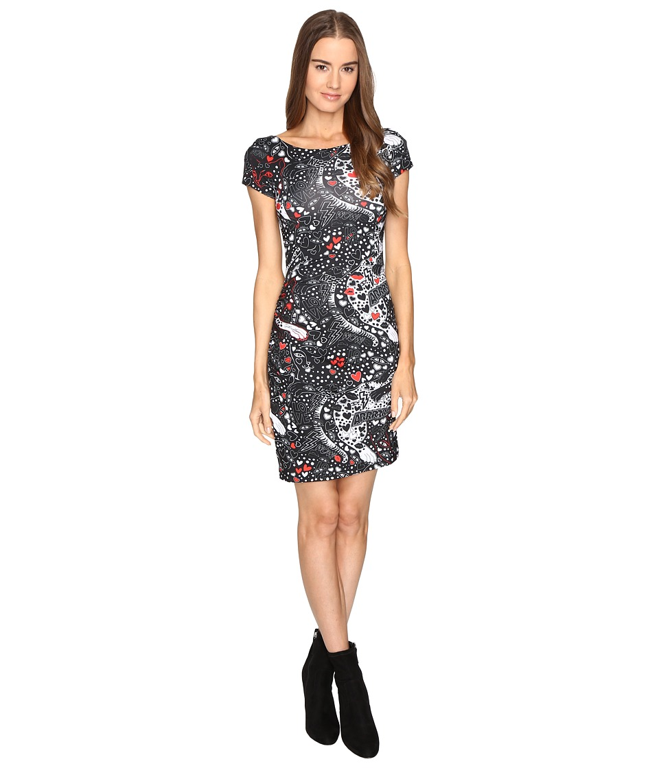 Just Cavalli Short Sleeve Cat and Tails Printed Jersey Dress (Black) Women