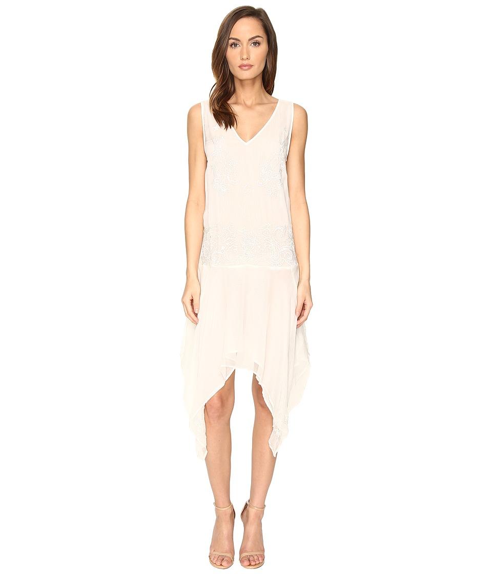 Just Cavalli - Sleeveless V-Neck Embroidered Handkerchief Hem Dress (Ivory) Women's Dress