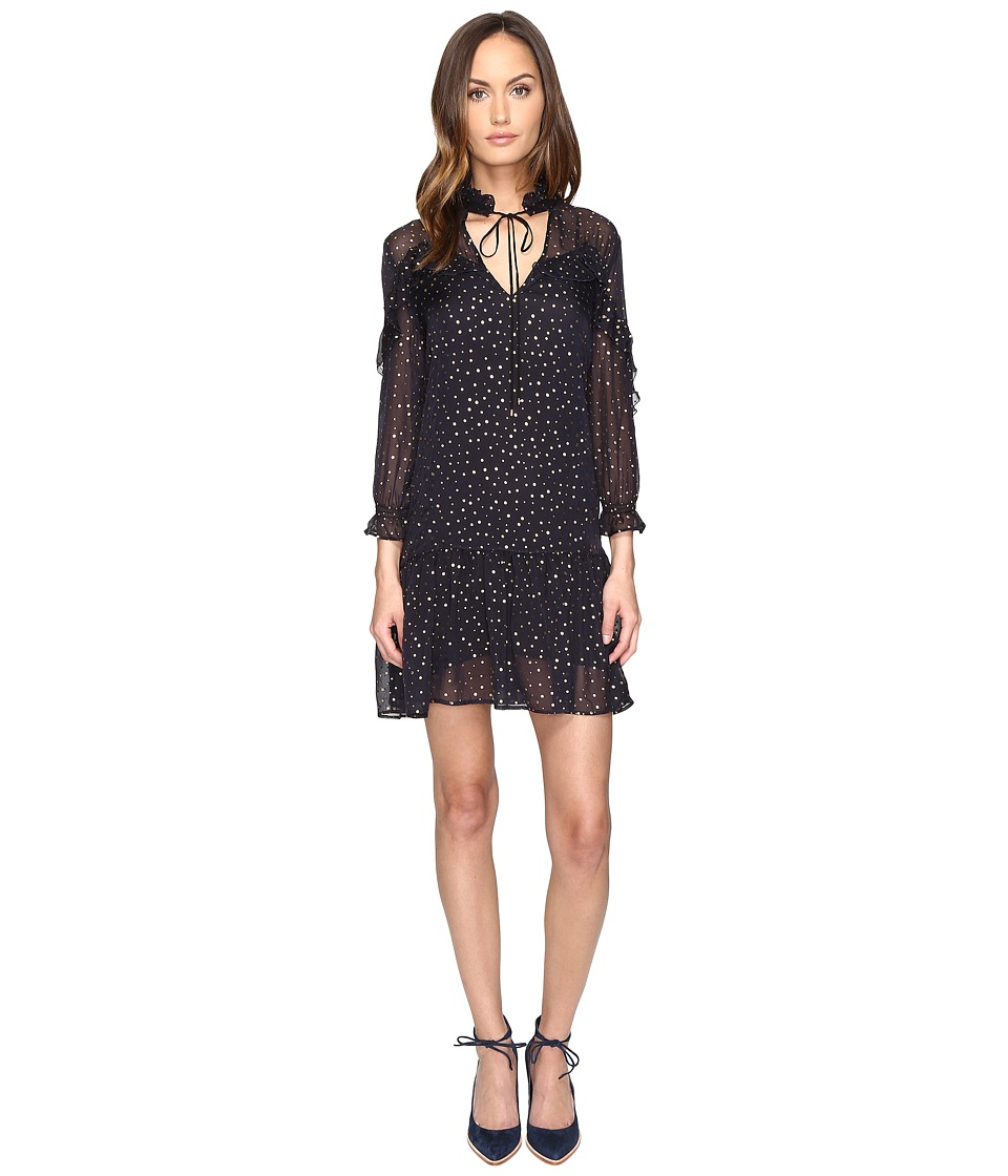 Just Cavalli 3/4 Sleeve Pois Print Dress (Navy/Blue) Women