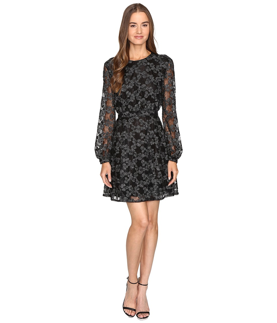 Just Cavalli Long Sleeve Sheer w/ Lining Embroidered Dress (Black) Women