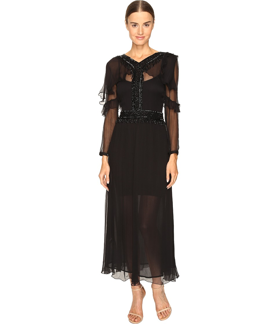 Just Cavalli 3/4 Sleeve Sheer Embellished Gown (Black) Women