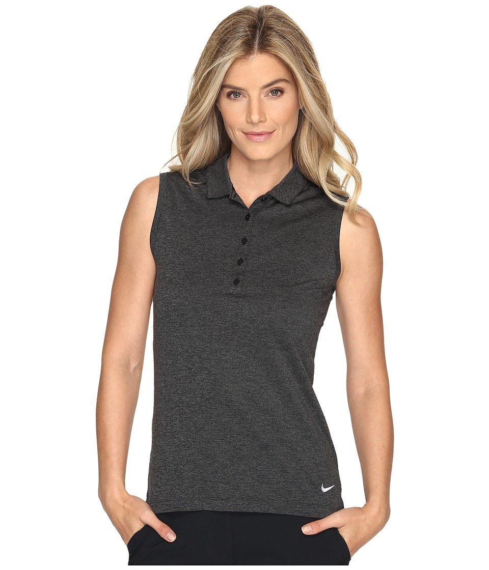 Nike Golf Sleeveless Heather Polo (Black/Heather/White) Women