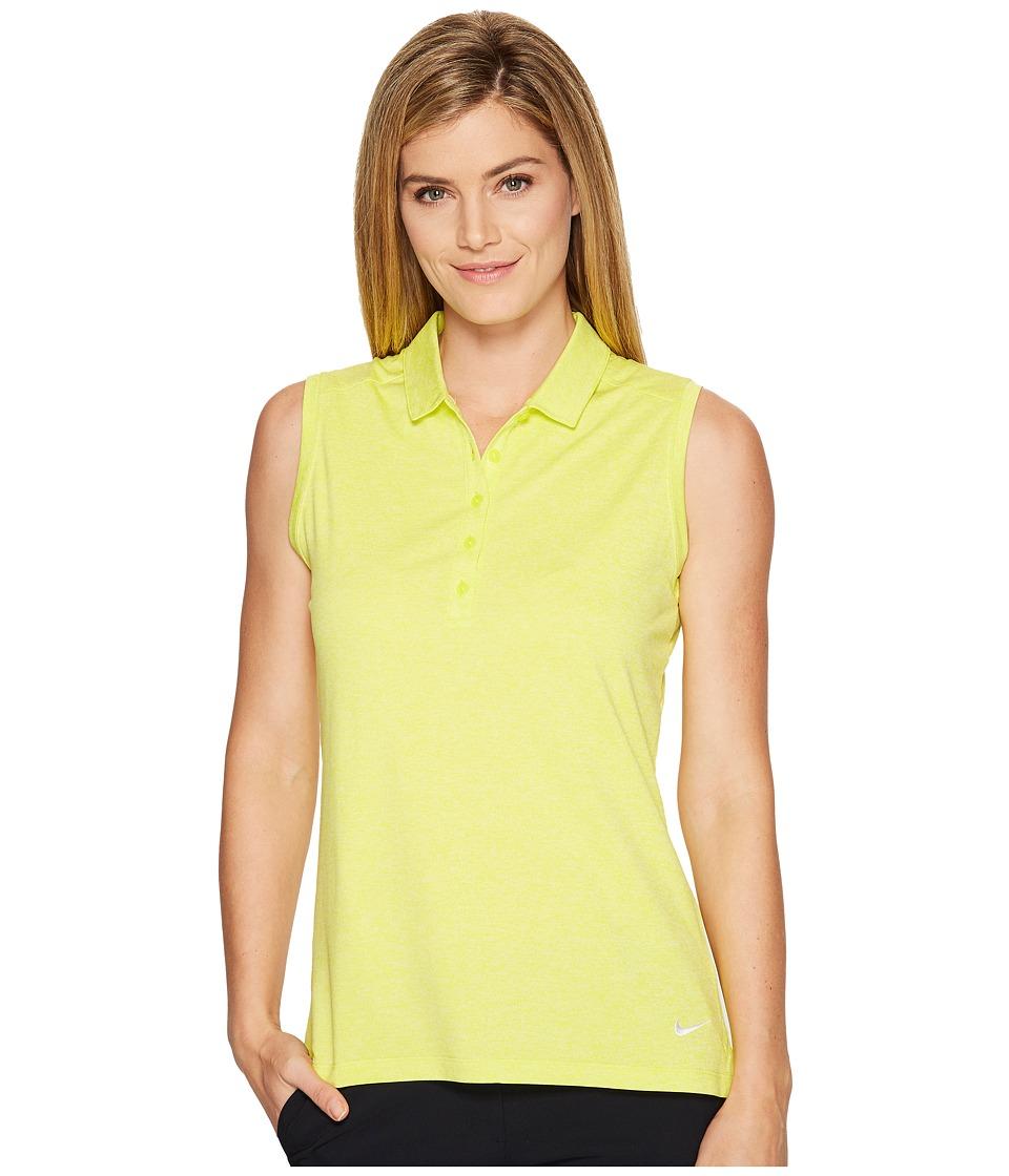 Nike Golf Sleeveless Heather Polo (Electrolime/Heather/White) Women