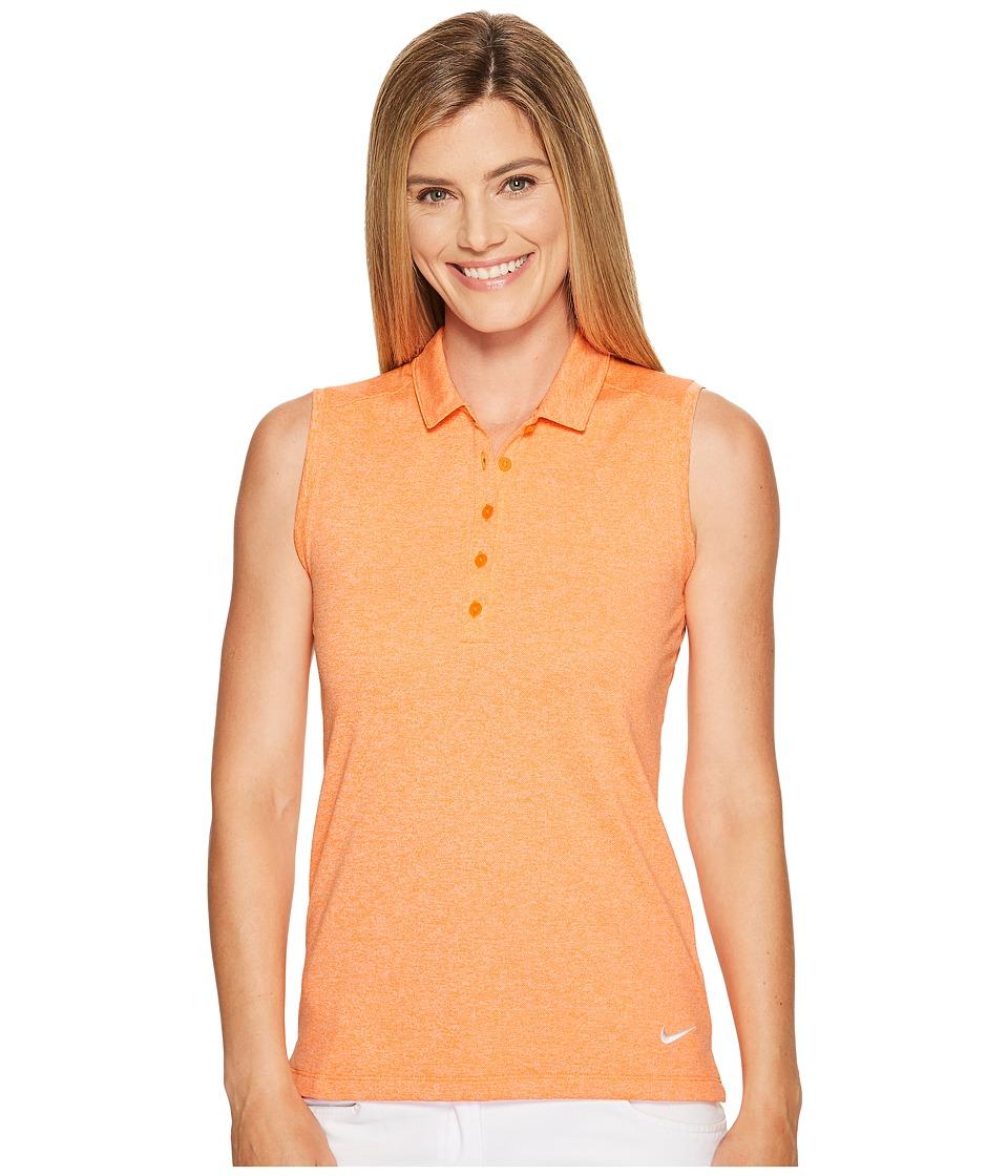 Nike Golf Sleeveless Heather Polo (Bright Mandarin/Heather/White) Women