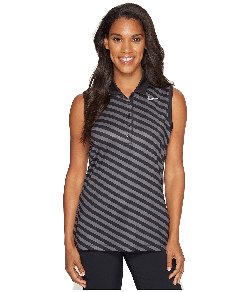 Nike Golf - Precision Print Sleeveless Polo (Black/Dark Grey/Metallic Silver) Women's Sleeveless