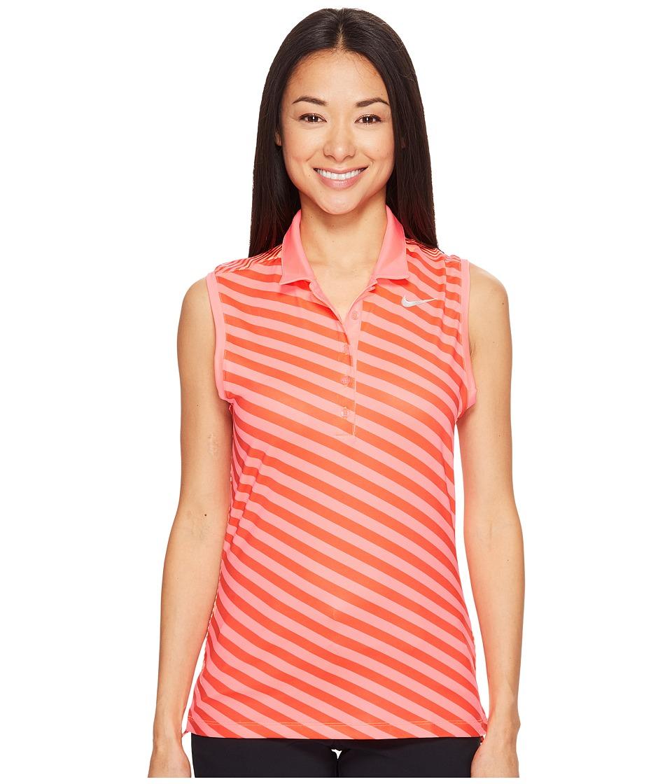 Nike Golf - Precision Print Sleeveless Polo (Lava Glow/Max Orange/Metallic Silver) Women's Sleeveless