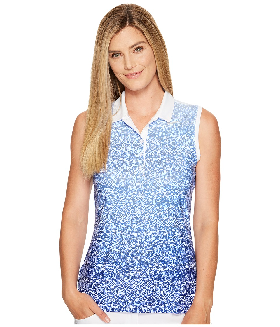 Nike Golf - Precision Zebra Fade Sleeveless Polo (Paramount Blue/Medium Blue/White/Metallic Silver) Women's Sleeveless