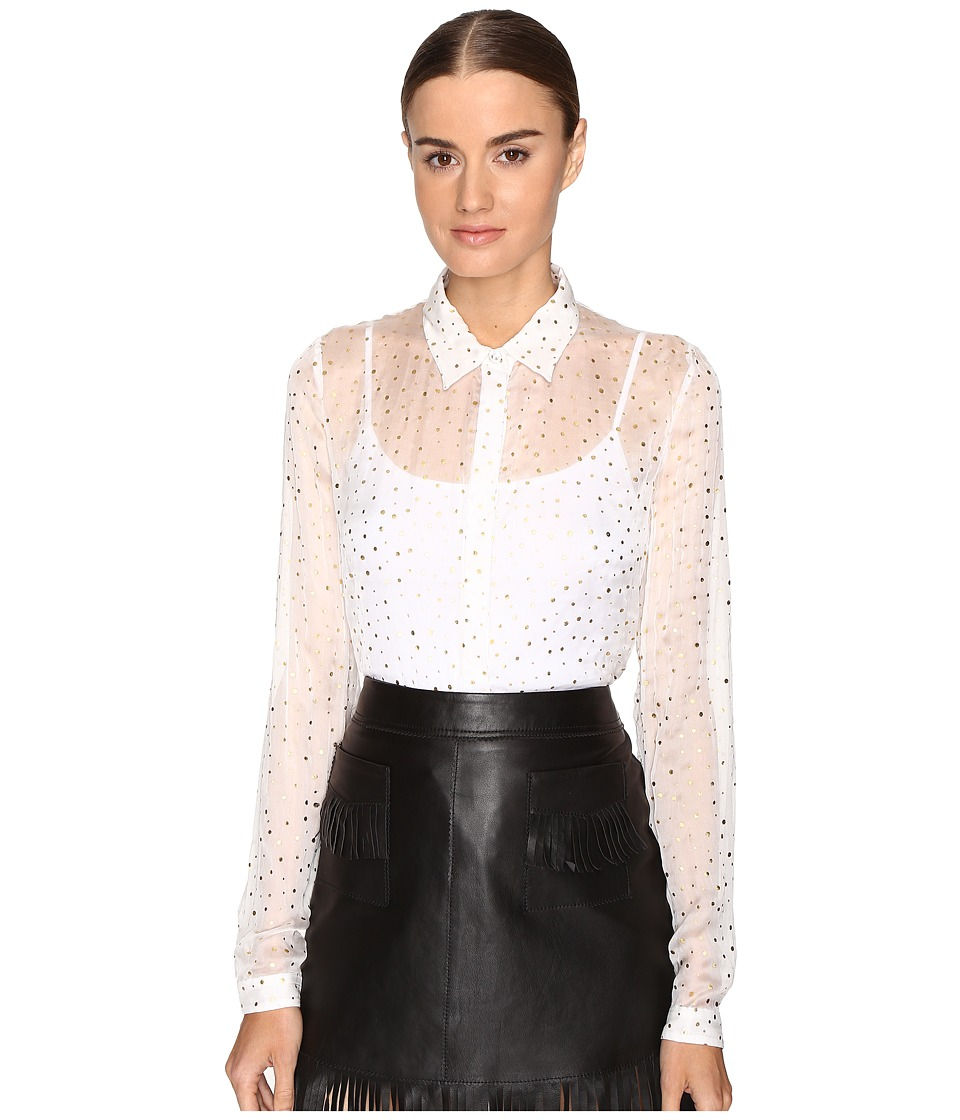 Just Cavalli - Long Sleeve Pois Print Button Up Top (White) Women's Long Sleeve Button Up