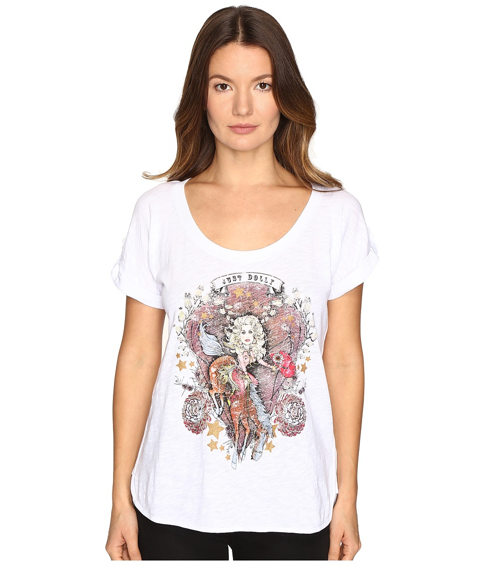 Just Cavalli - Dolly Parton Short Sleeve Scoop Neck T-Shirt (White) Women's T Shirt