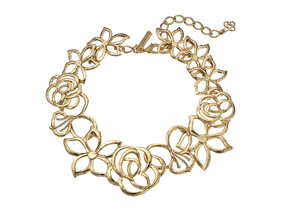 Oscar de la Renta - Intertwined Floral Necklace (Light Gold) Necklace