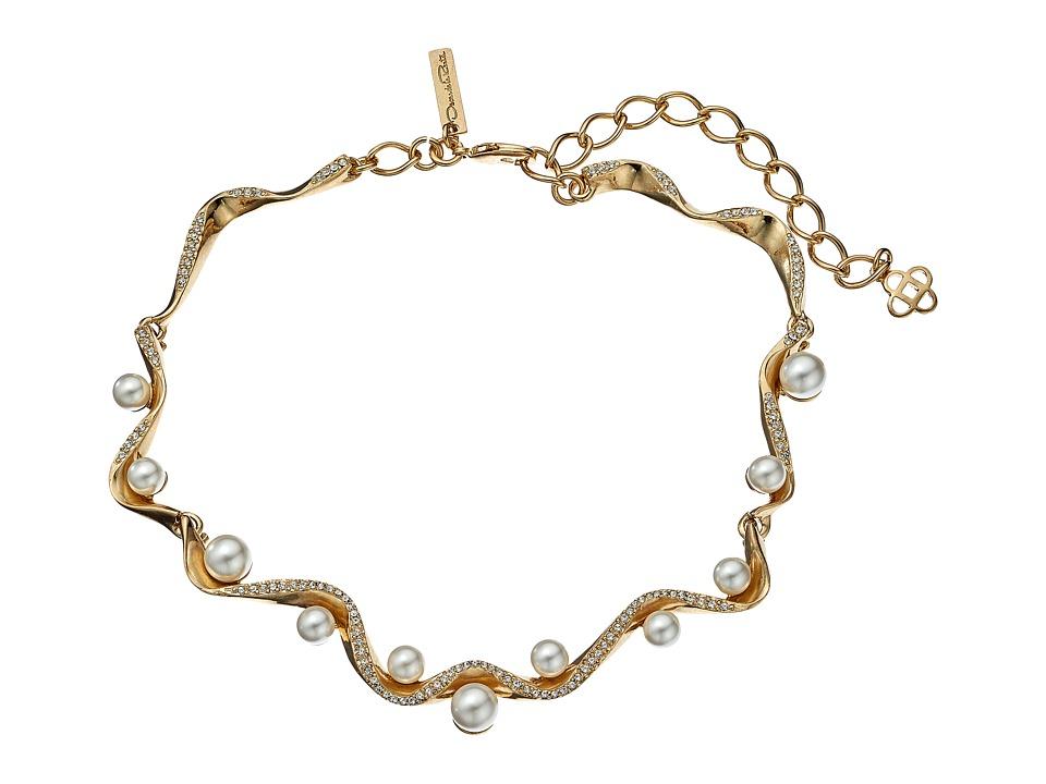Oscar de la Renta - Pave Wave Pearl Necklace (Light Gold) Necklace