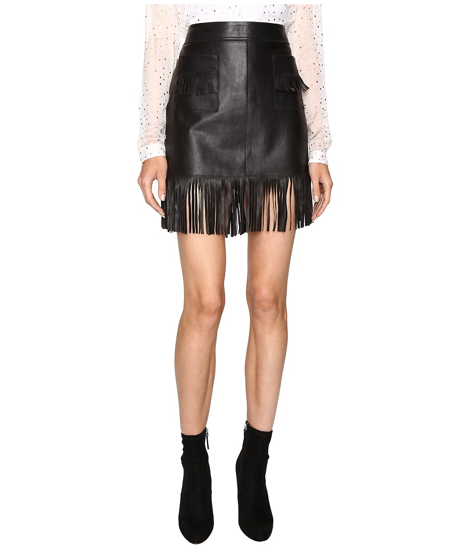 Just Cavalli - Fringe Leather Skirt (Black) Women's Skirt