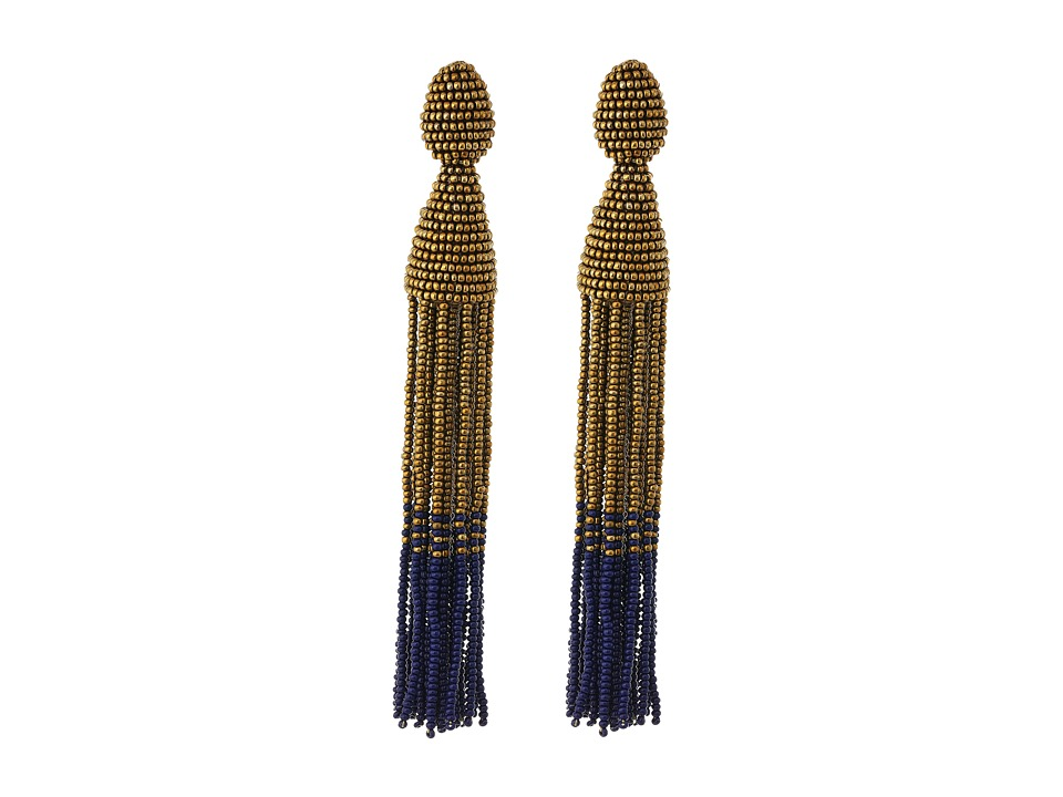 Oscar de la Renta - Long Two Ombre Tassel C Earrings (Gold) Earring