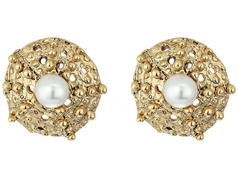 Oscar de la Renta - Urchin Pearl Button P Earrings (Light Gold) Earring