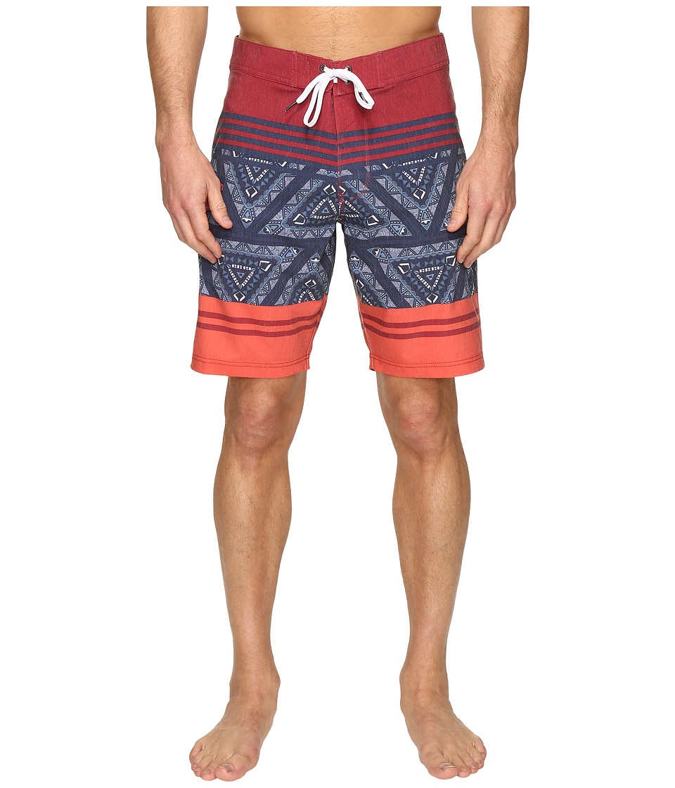 VISSLA - Sinner Point Washed 4-Way Stretch Boardshorts 20 (Red) Men's Swimwear