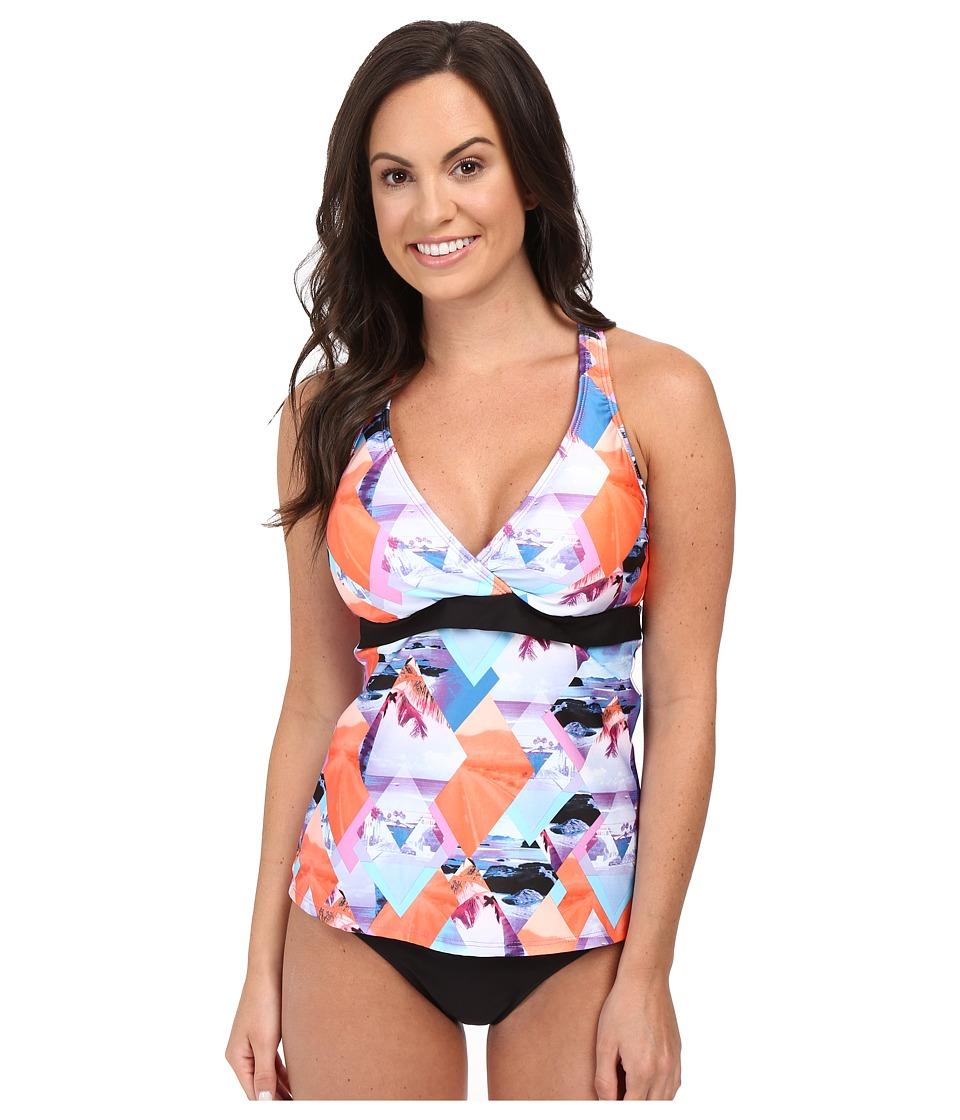 Next by Athena - Palm Pop Superwoman Racerback Wrap Tankini Top (D-Cup) (Multi) Women's Swimwear