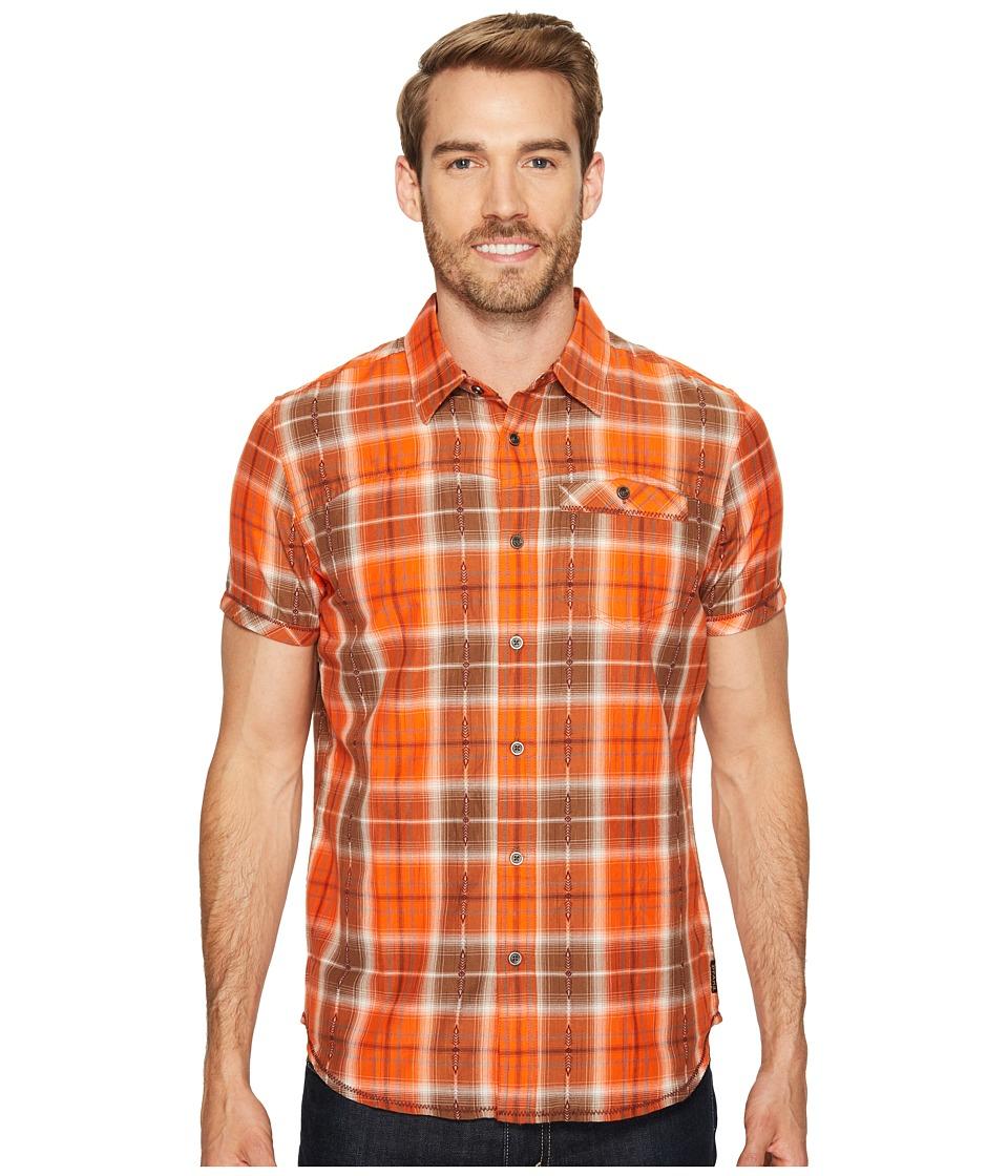 Prana - Patras Slim (Orange Crush) Men's Short Sleeve Button Up