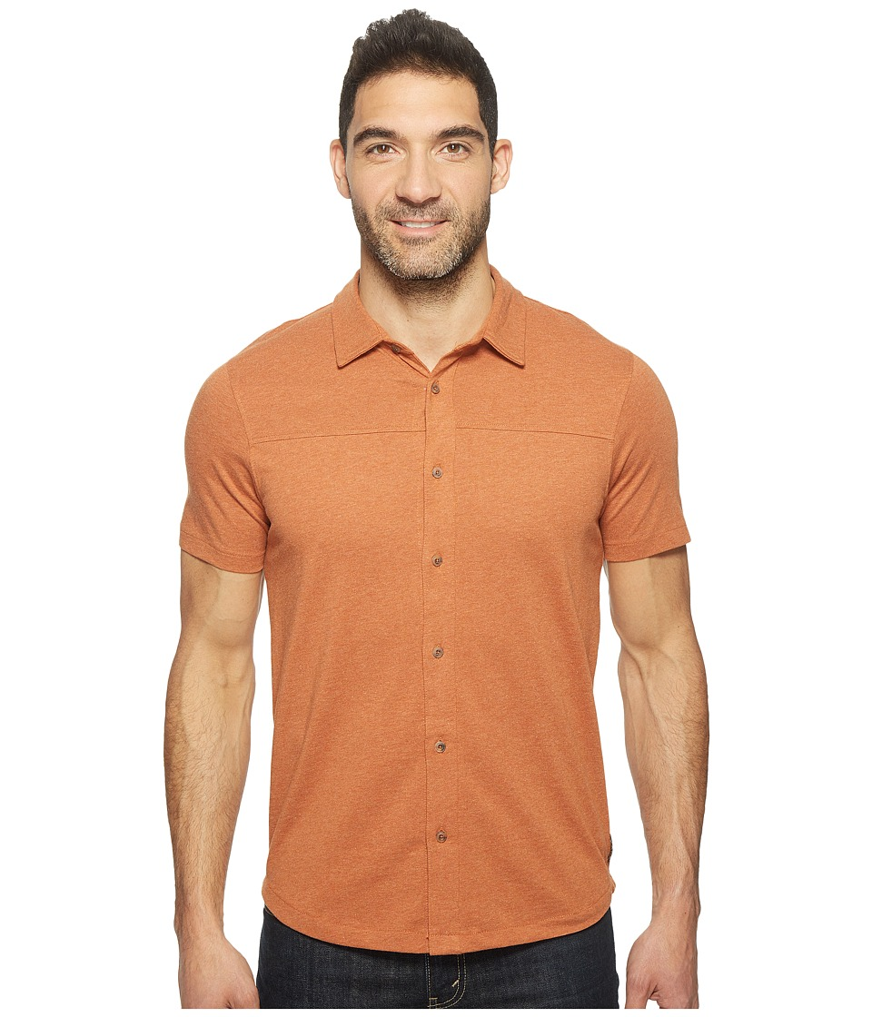 Prana - Gaines Button Front (Leather) Men's Short Sleeve Button Up