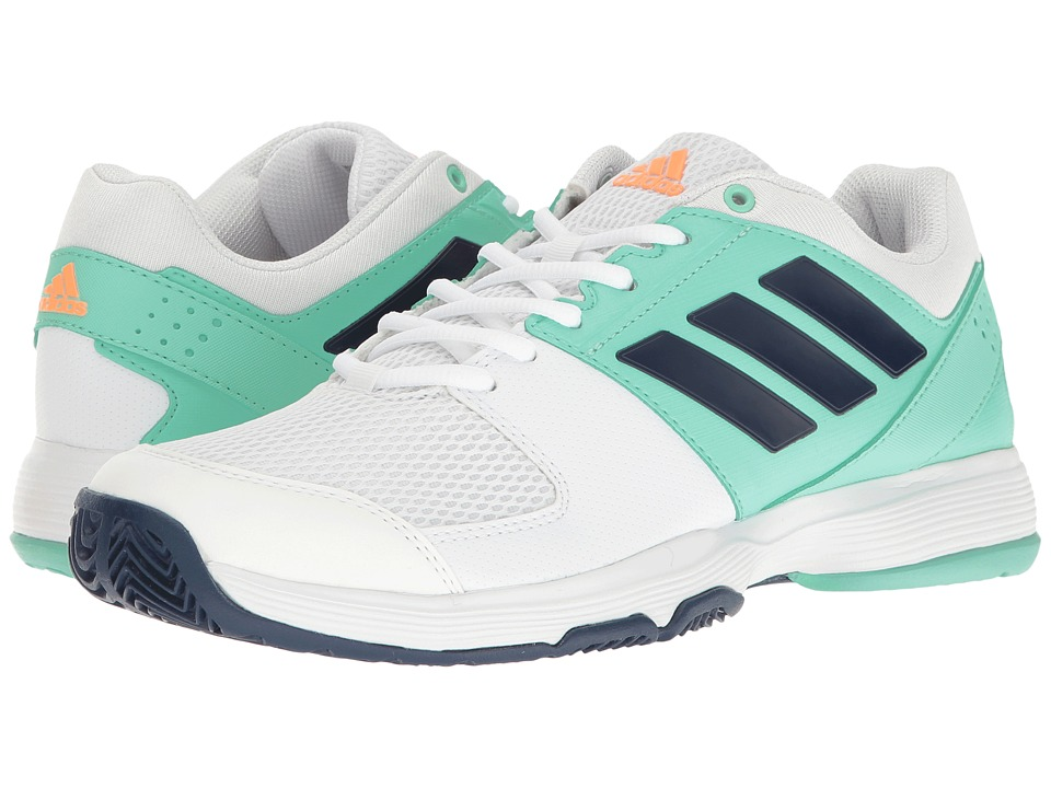 adidas - Barricade Court (Footwear White/Mystery Blue/Easy Green) Women's Tennis Shoes