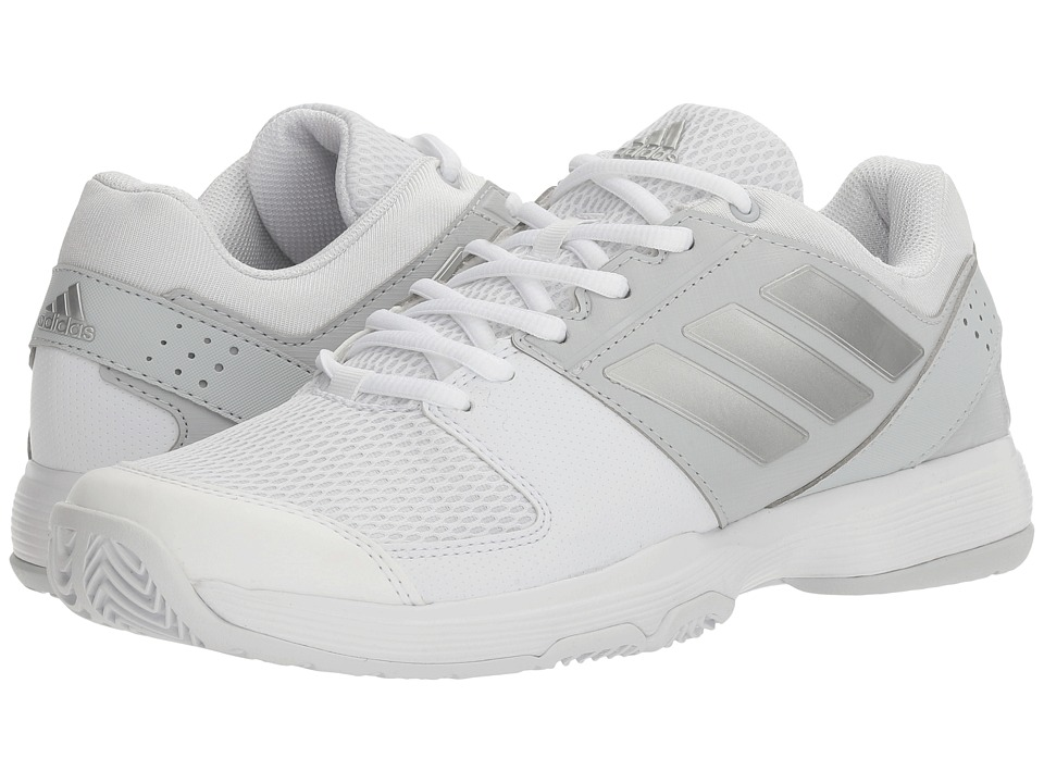 adidas - Barricade Court (Footwear White/Silver Metallic/MGH Solid Grey) Women's Tennis Shoes