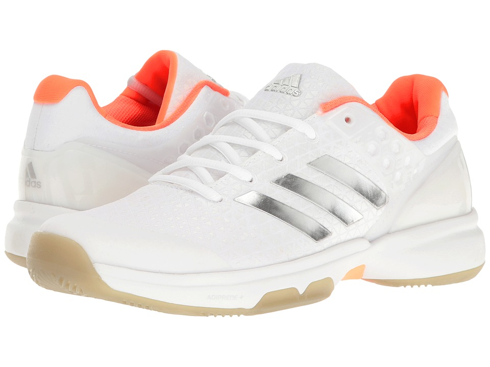 adidas - Adizero Ubersonic 2 (Footwear White/Silver Metallic/Glow Orange) Women's Tennis Shoes
