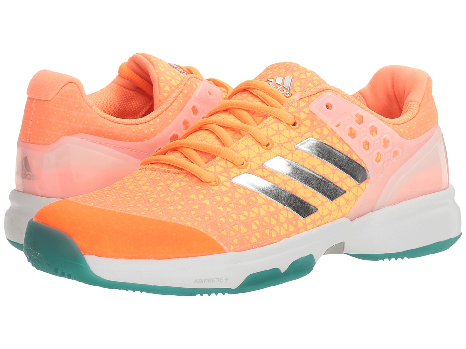 adidas - Adizero Ubersonic 2 (Glow Orange/Silver Metallic/Easy Green) Women's Tennis Shoes