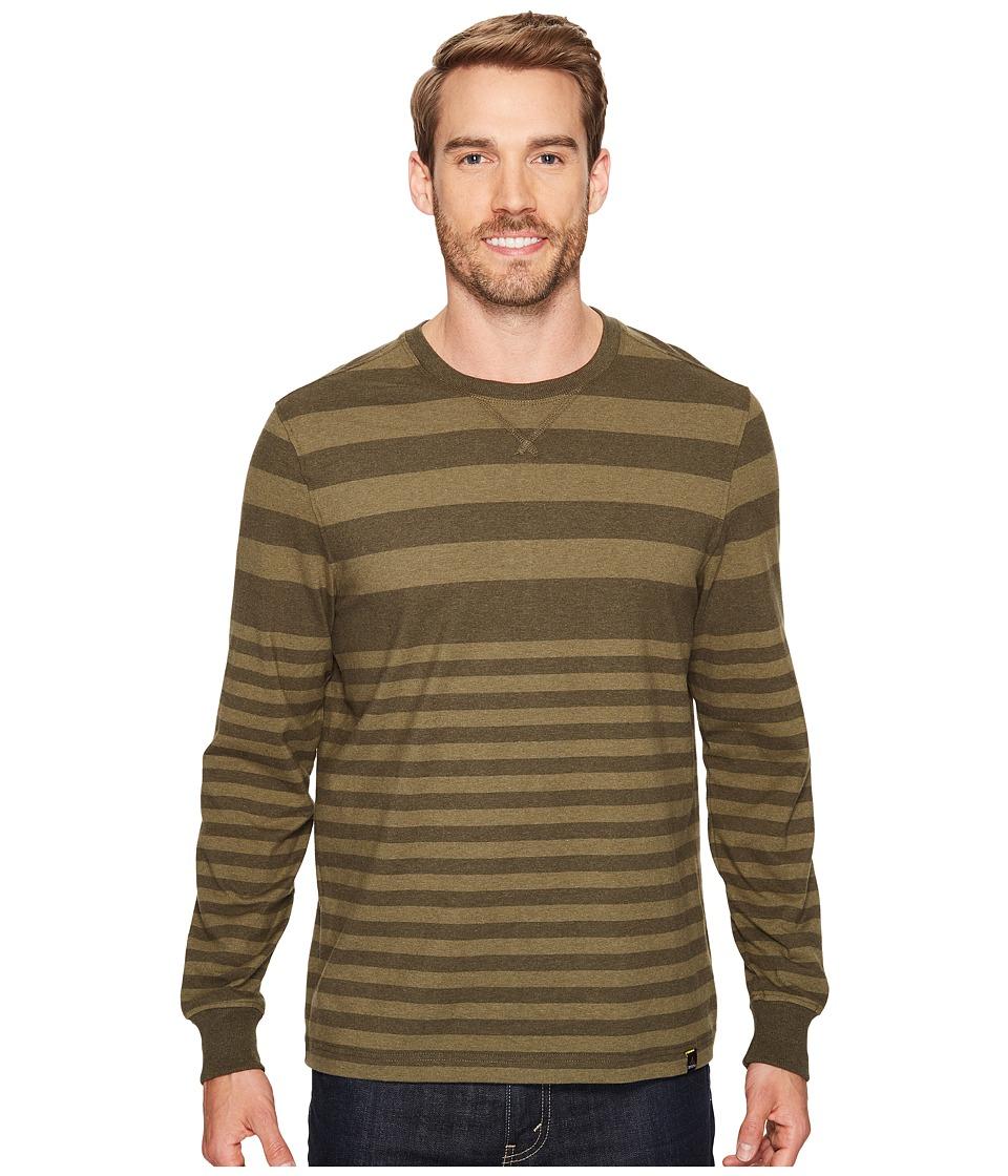Prana - Setu Crew (Cargo Green Stripe) Men's Long Sleeve Pullover