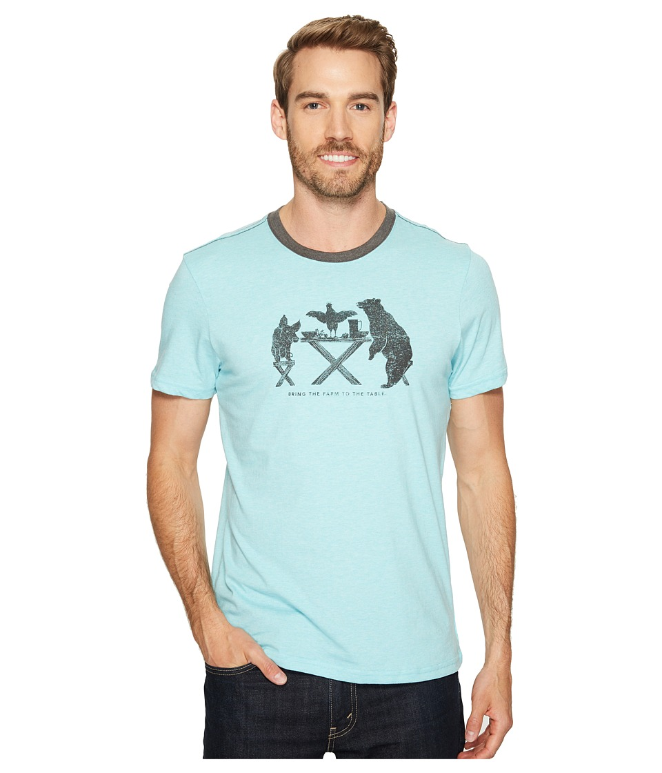 Prana Farm to Table Ringer Tee (Surf Blue) Men