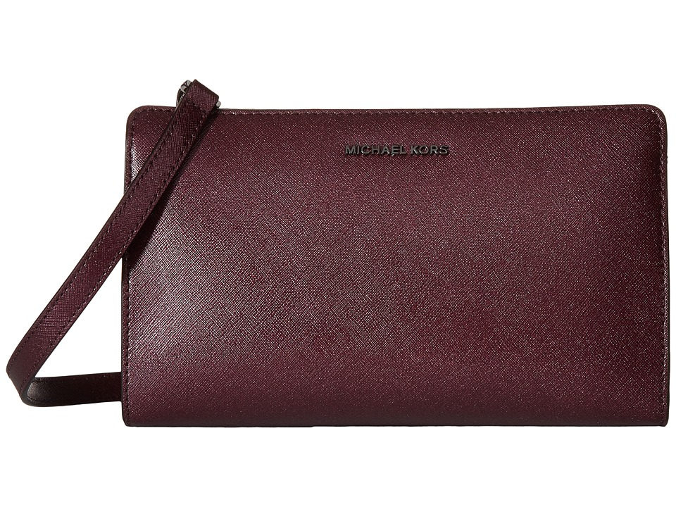 MICHAEL Michael Kors - Jet Set Travel Lg Crossbody Clutch (Plum) Clutch Handbags