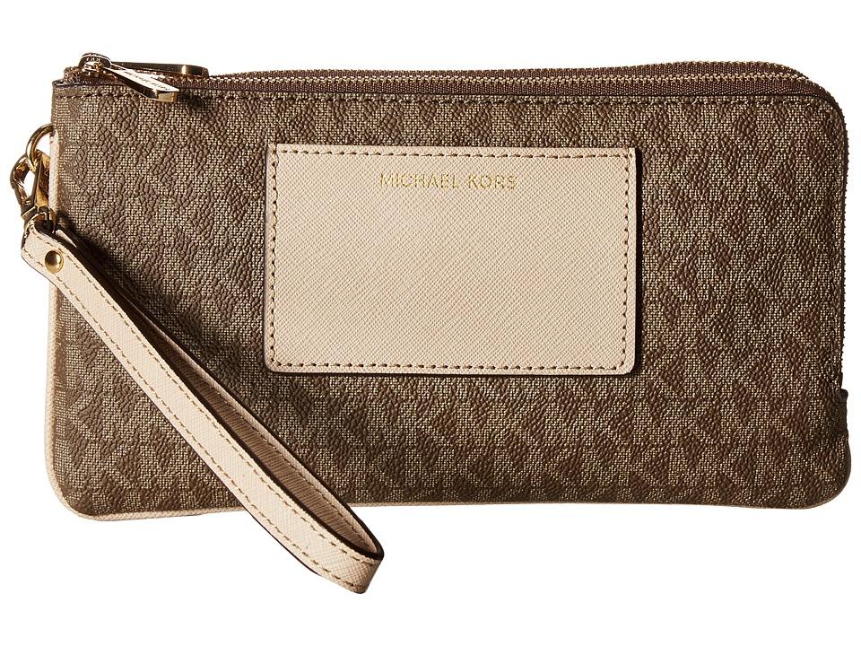 MICHAEL Michael Kors - Bedford Lg Dbzp Wrstlt W/Pkt (Mocha/Bisque) Wristlet Handbags