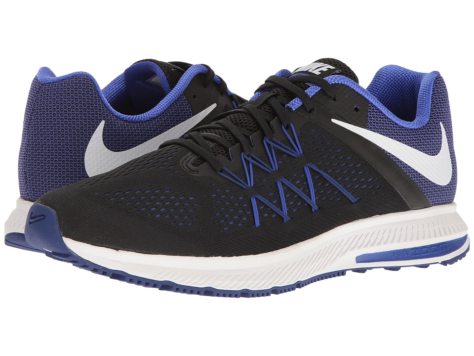 Nike - Zoom Winflo 3 (Black/White/Paramount Blue) Men's Running Shoes