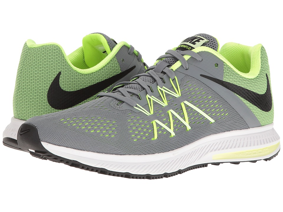 Nike - Zoom Winflo 3 (Cool Grey/Black/Volt/Barely Volt) Men's Running Shoes