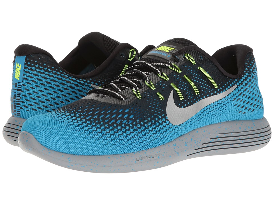 Nike - LunarGlide 8 Shield (Black/Metallic Silver/Blue Glow/Stealth) Men's Running Shoes