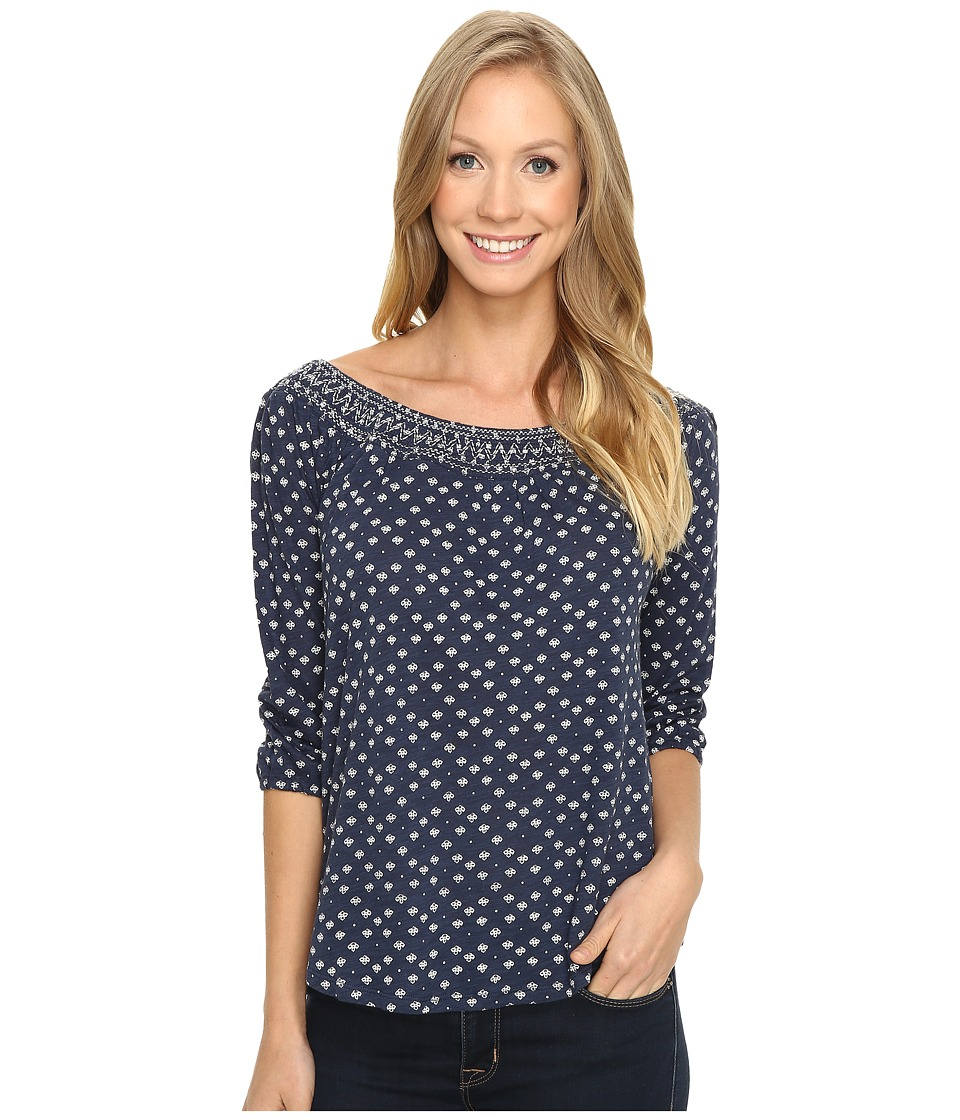 Lucky Brand - Disty Off the Shoulder Top (Blue Multi) Women's Clothing