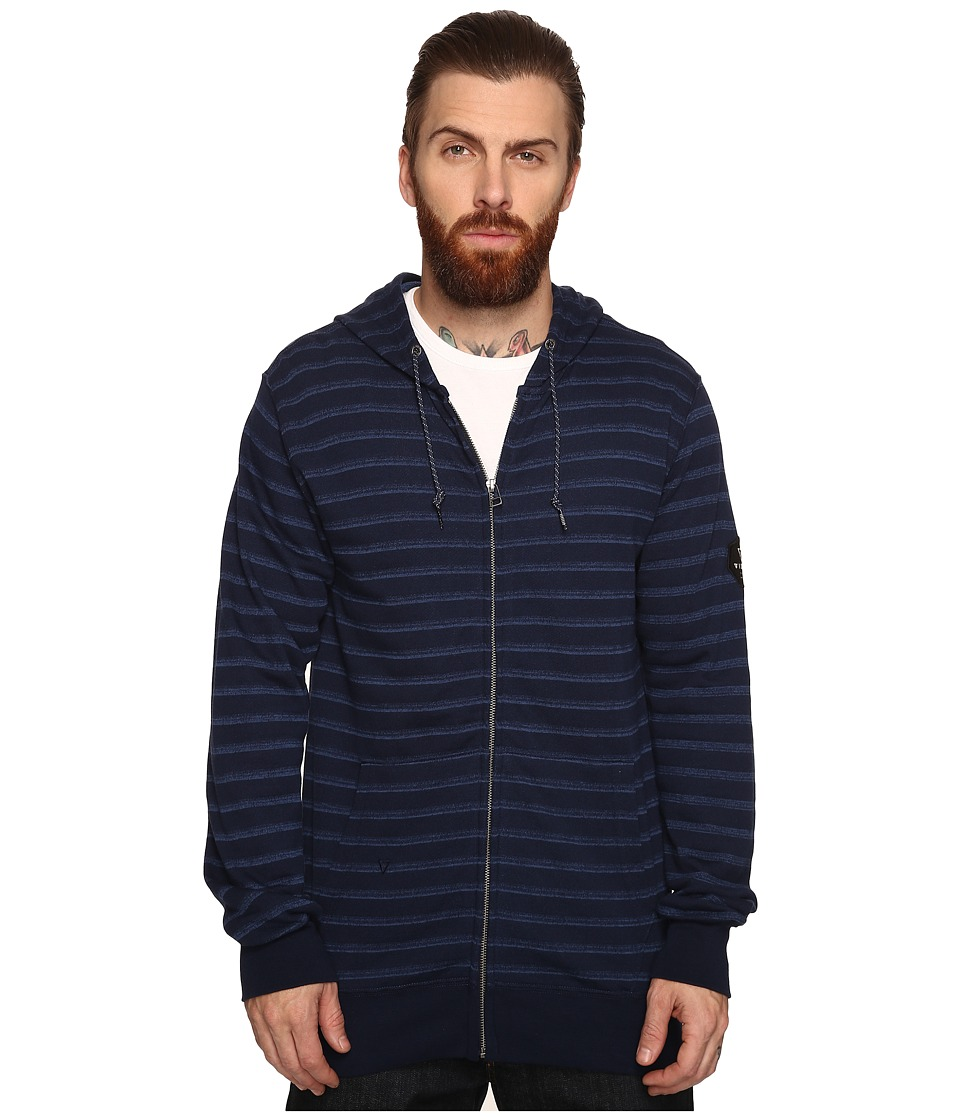 VISSLA - Fine Point Yarn-Dye Stripe Zip Fleece Hoodie (Dark Navy) Men's Sweatshirt