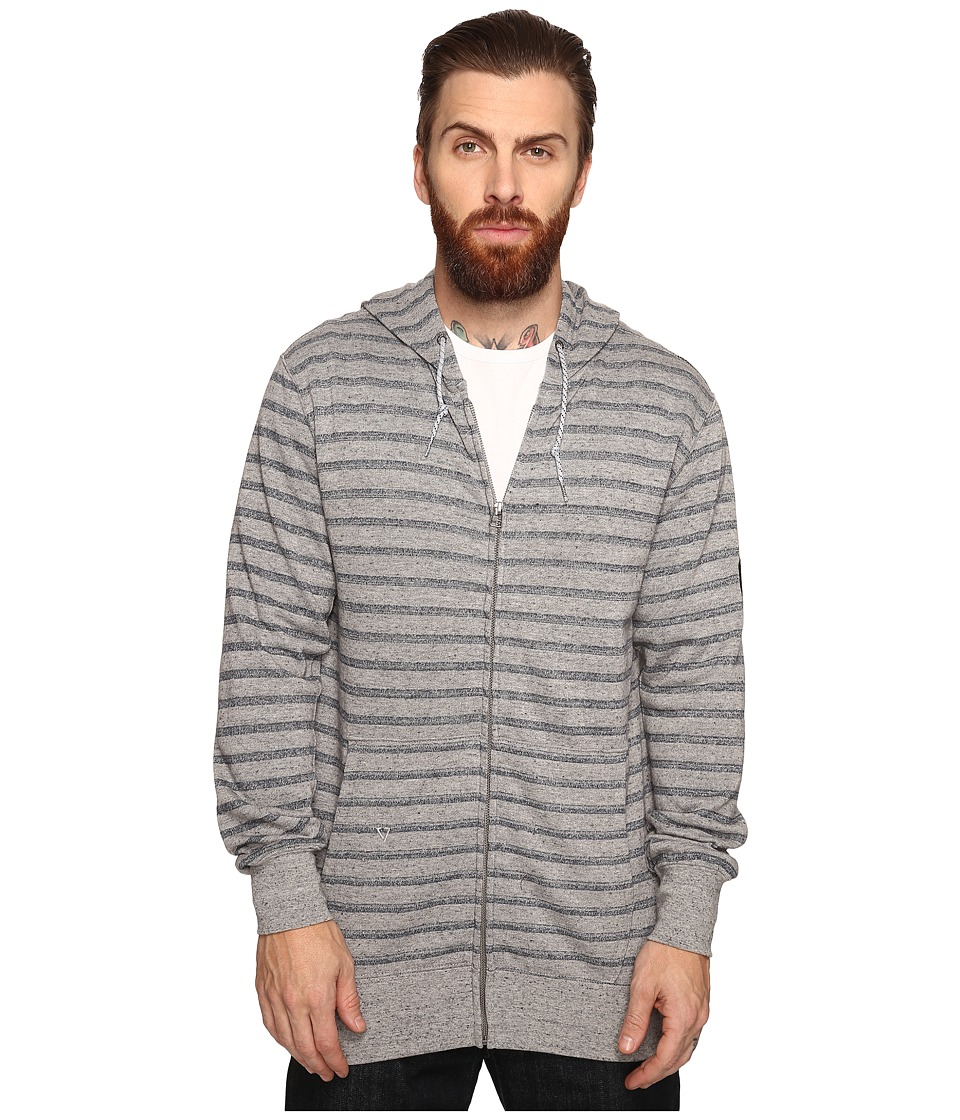 VISSLA - Fine Point Yarn-Dye Stripe Zip Fleece Hoodie (Grey Heather) Men's Sweatshirt