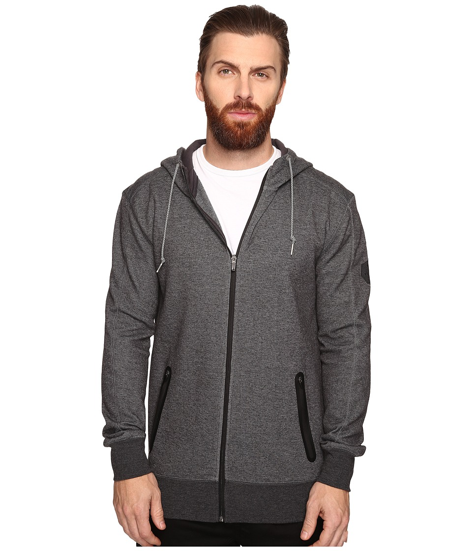 VISSLA - Hell Week Double Faced Jersey Knit Zip Hoodie (Black Heather) Men's Sweatshirt