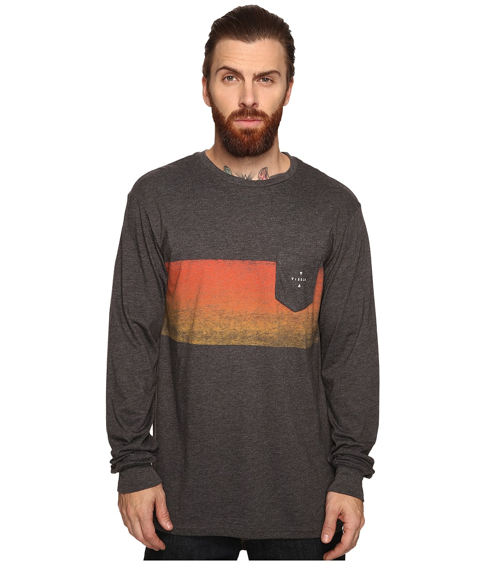 VISSLA - Gradient Long Sleeve Pocket Crew (Black Heather) Men's Clothing