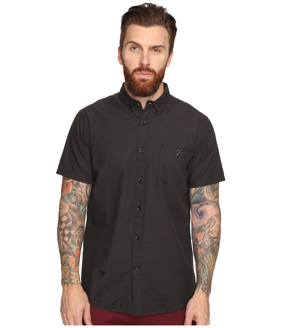 VISSLA - Barbwires Dobby Textured Stripe Short Sleeve Woven (Black) Men's Clothing
