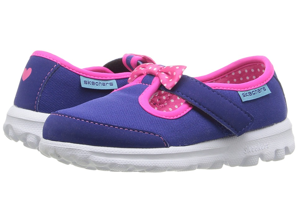 SKECHERS KIDS - Go Walk - Bitty Bow (Toddler/Little Kid) (Blue/Hot Pink) Girl's Shoes