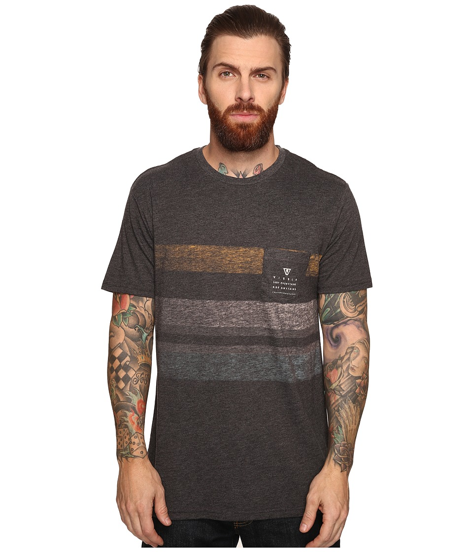 VISSLA - Kooktown Reverse Printed Short Sleeve Pocket Crew Knit (Black Heather) Men's Short Sleeve Knit