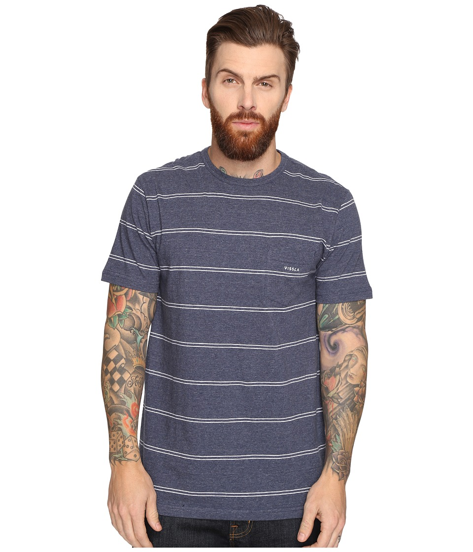 VISSLA - Ranger Yarn-Dye Stripe Short Sleeve Crew Knit (Dark Navy Heather) Men's Short Sleeve Knit