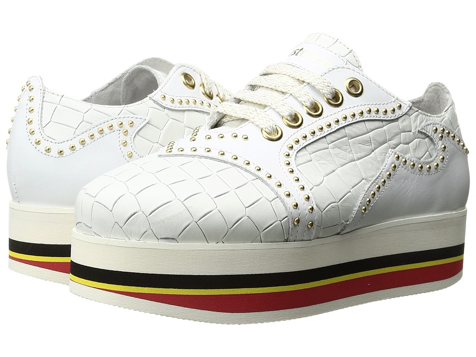 Just Cavalli - Cocco Printed Leather Sneaker (White) Women's Lace up casual Shoes