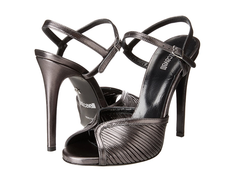 Just Cavalli - Laminated Leather Open Toe Heels (Multicolor) High Heels