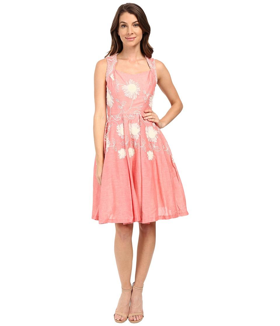 Eva by Eva Franco - Portrait Fit Flare Dress (Coral) Women's Dress