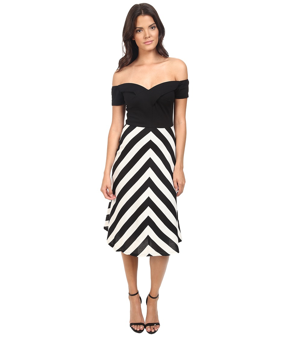 Eva by Eva Franco - Off the Shoulder Dress (Black/White) Women's Dress