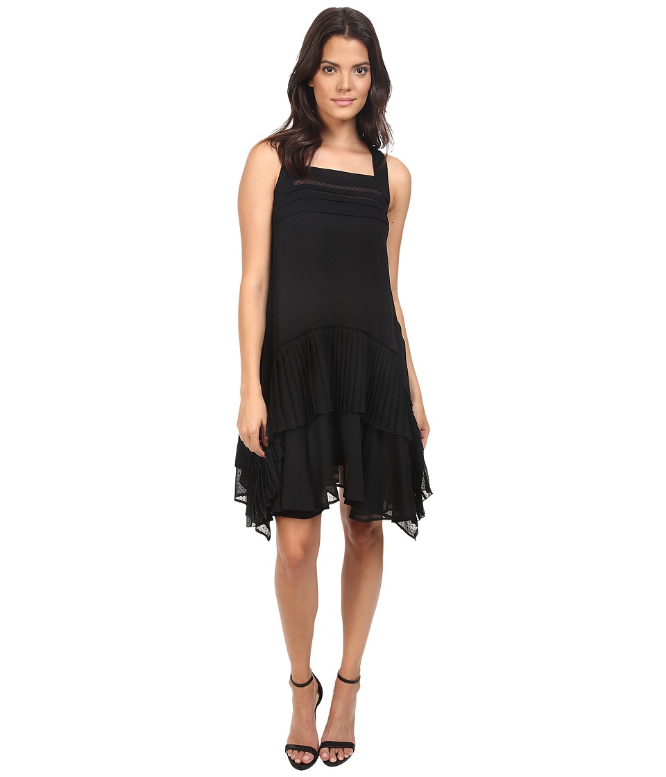 Eva by Eva Franco - Asymmetrical Dress with Pleats (Black) Women's Dress